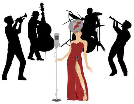vrouwelijke blues zangeres met band
