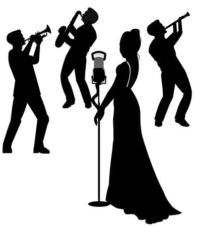 jazz-zangeres in silhouet Stock Illustratie