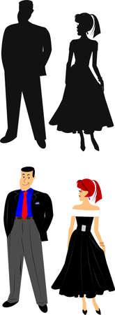 smirk: man and woman  Illustration