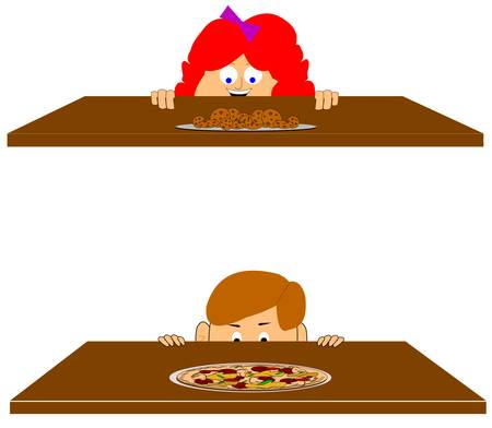 pizza or cookies  Ilustrace