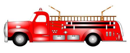 fire extinguishers: retro firetruck  Illustration