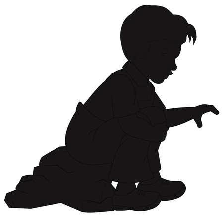reaching: little boy sitting on rock in silhouette