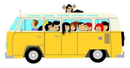 ni�os en la escuela: autob�s escolar con ni�os Vectores