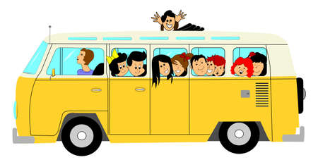grade school: school bus with kids  Illustration