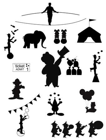 circus ticket: circus silhouettes  Illustration