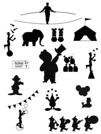 circus silhouettes  Vettoriali