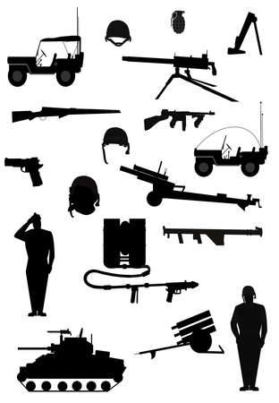military elements in silhouette  Imagens