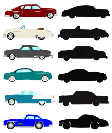 vintage cars in color and silhouette formats