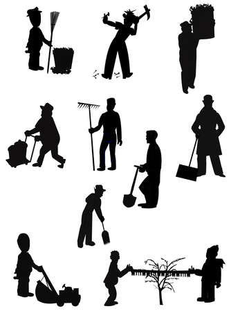 fall images: chores in silhouette Illustration