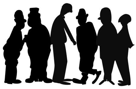 tall and short: men in silhouette Illustration