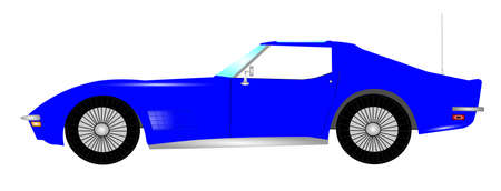 seater: 1960s sports car in blue Stock Photo