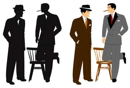 lapels: men in vintage suits chatting