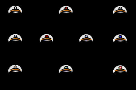 boating: boating captains hats with emblems