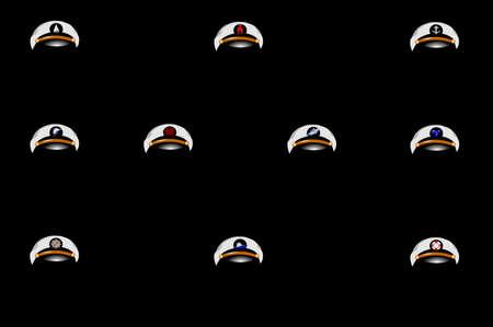 canotaje: canotaje capitanes gorras con emblemas Vectores