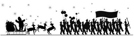 Kerstman parade in silhouet