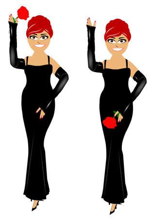 유럽의: european woman holding a rose