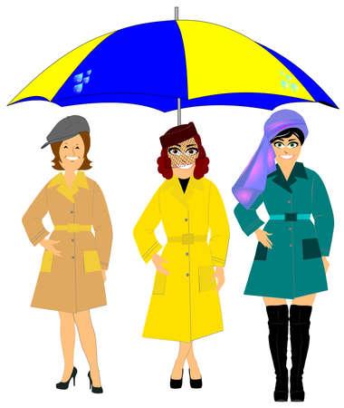 rainwear: women in rainwear with huge umbrella