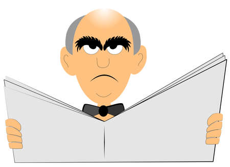 grey hair: angry old bald man reading the paper