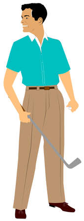 golfer with golfball and club in hands photo