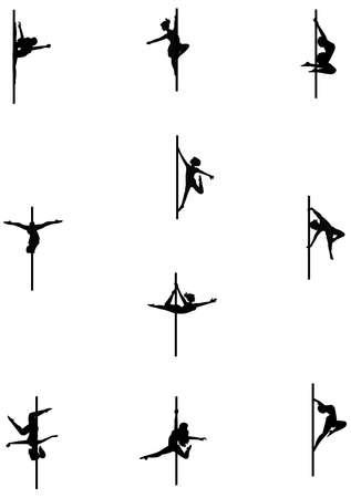 white pole: pole dancers set