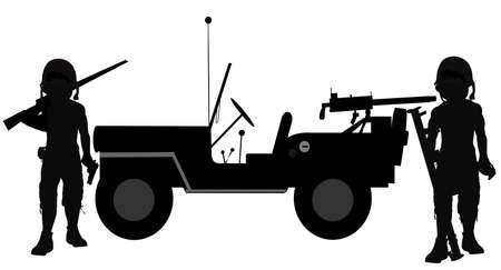 45 caliber: soldiers beside jeep