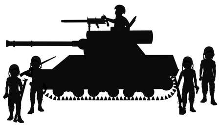 armaments: tank with driver and soldiers Stock Photo