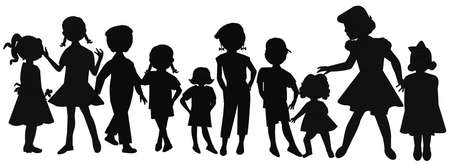 motherly: girls of all ages in silhouette