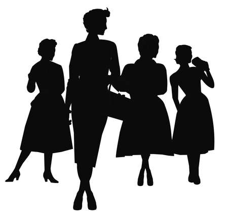 fifties: ladies in silhouette fifties style Stock Photo