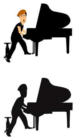 joueur de piano: joueur de piano dans deux styles Banque d'images