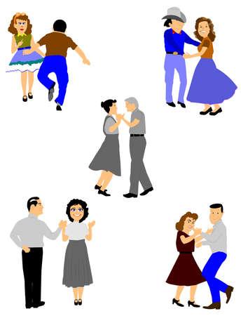 square dancing: square dancers Stock Photo