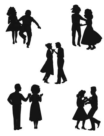 square: country square dancers in silhouette