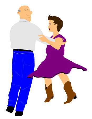 bald girl: elderly man dancing with younger girl Stock Photo