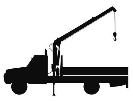 camion grua: camión grúa siilhouette