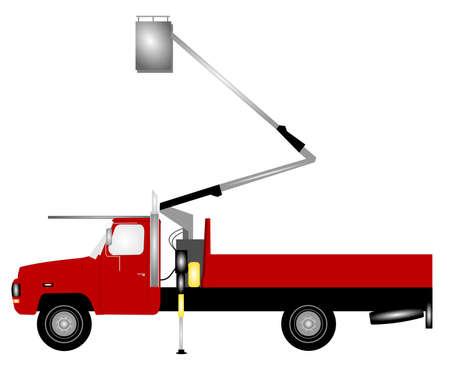 leveler: cherry picker truck Stock Photo