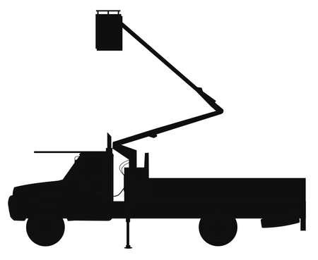leveler: cherry picker truck silhouette