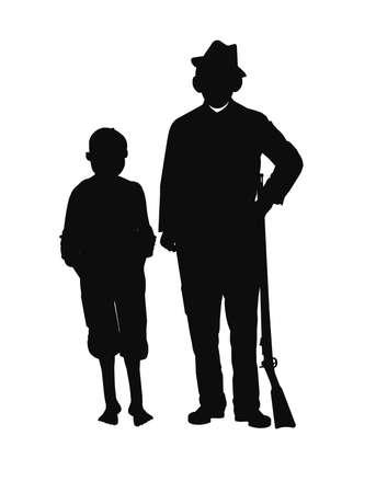 mid century: farmers in silhouette