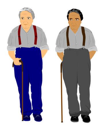 elderly men in 2 styles over white Stockfoto