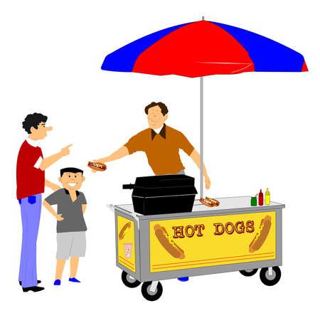 street vendor: hot dog street vendor serving customers