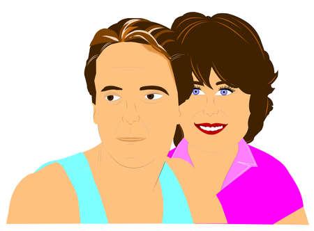 夫と妻の写真のためにポーズ 写真素材