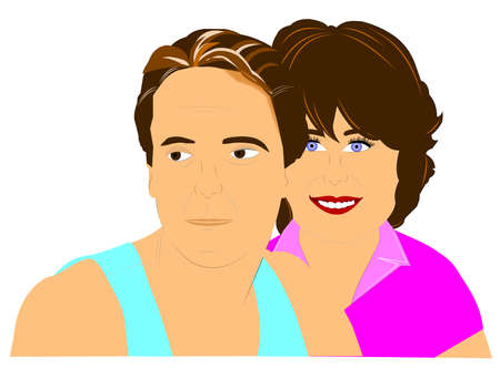 happy mature couple: husband and wife posing for picture