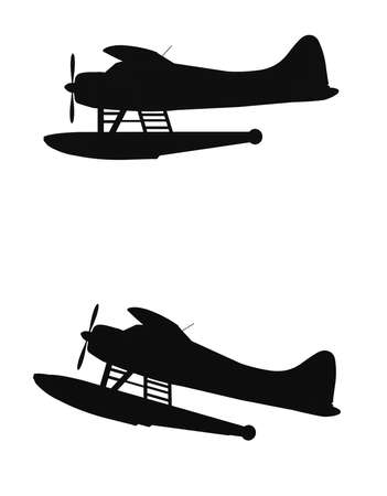 airborne vehicle: float planes in silhouette