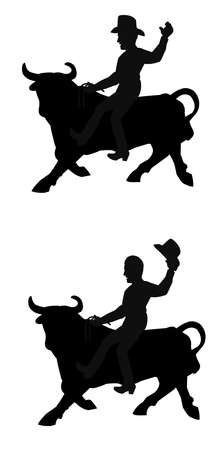 cowboys riding bulls in silhouette Banque d'images