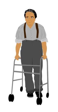 over white: elderly man with walker over white Stock Photo