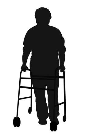 man with walker in silhouette Imagens