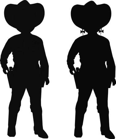 outfits: kids in cowboy outfits in silhouette