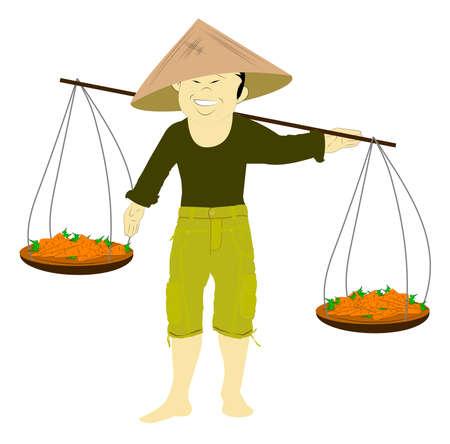 asian produce: asian farmer carrying baskets of produce