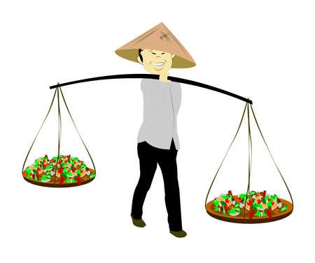 asian produce: asian farmer with produce