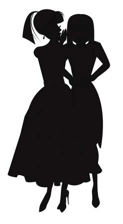 woman whispering secrets in silhouette
