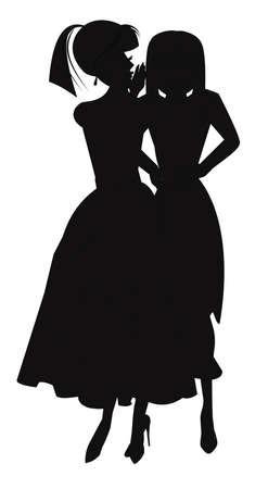 woman whispering secrets in silhouette photo