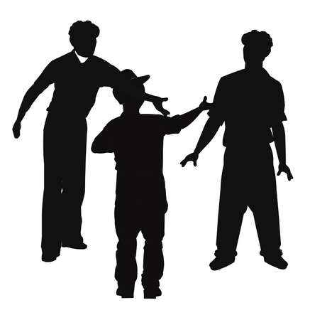 workers in silhouette having an argument Banque d'images